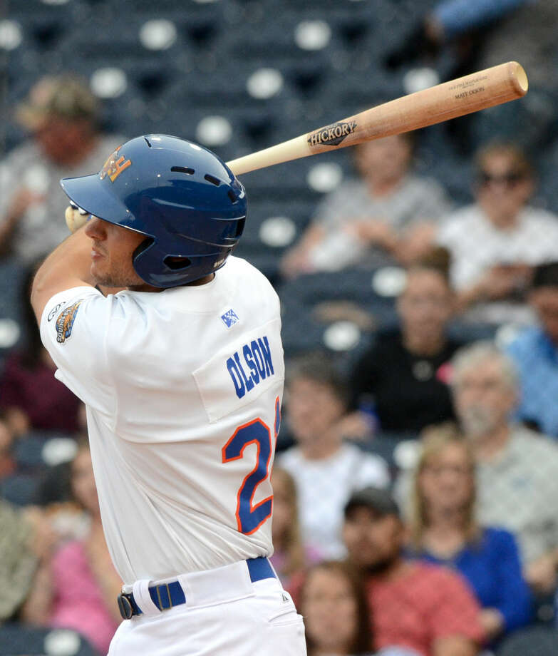 Rockhounds' Matt Olson hits a home run against Northwest Arkansas during the season opener Thursday, April 9, 2015 at Security Bank Ballpark. James Durbin/Reporter-Telegram Photo: James Durbin