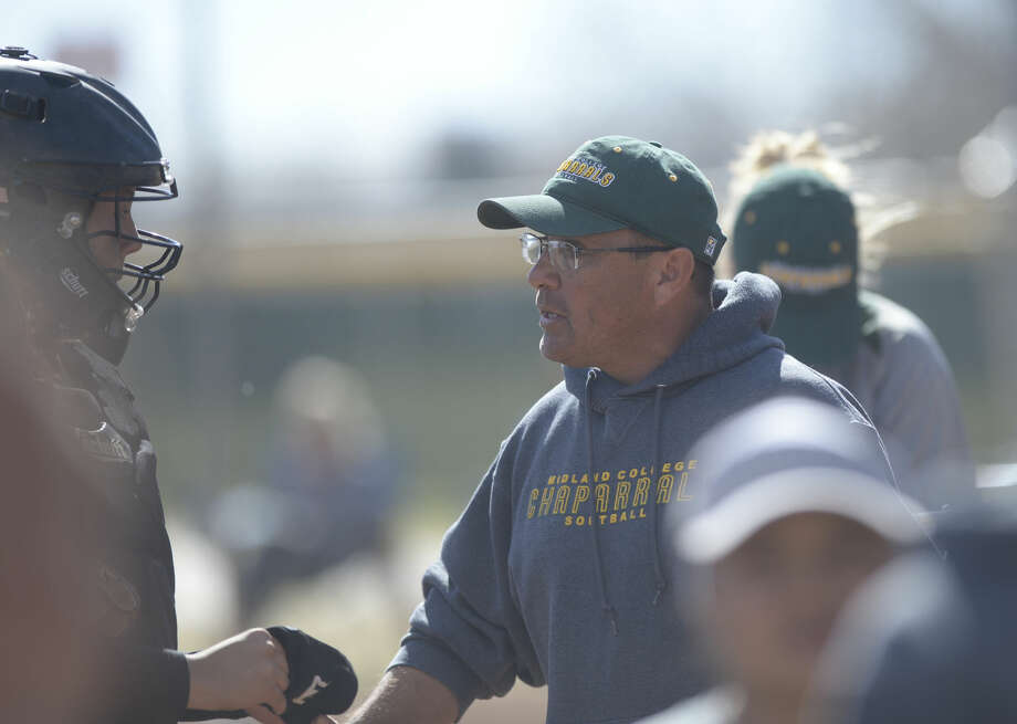 Midland College softball head coach Tommy Ramos talks to his team between innings in the game against Barton County College on Saturday, Feb. 13, 2016, at Freddie Ezell Softball Complex. James Durbin/Reporter-Telegram Photo: James Durbin