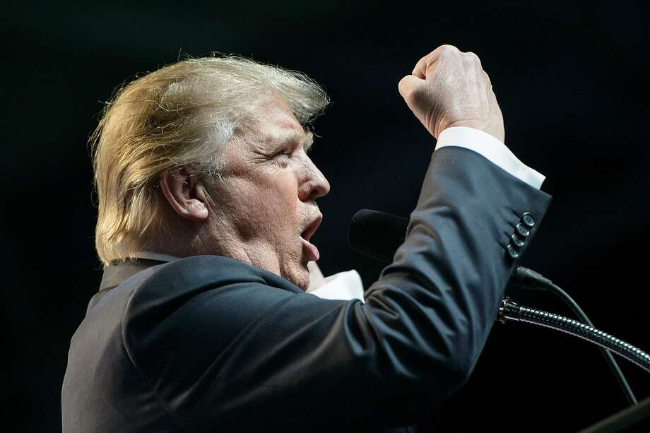 US Republican presidential candidate Donald Trump speaks during a rally May 5, 2016 in Charleston, West Virginia. / AFP PHOTO / Brendan SmialowskiBRENDAN SMIALOWSKI/AFP/Getty Images Photo: BRENDAN SMIALOWSKI, AFP/Getty Images