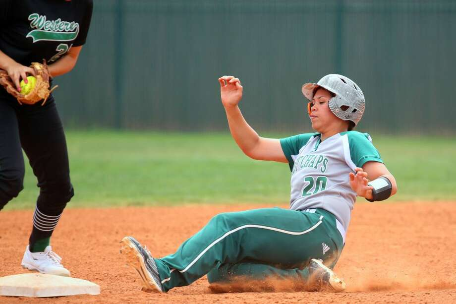 Midland College's Tammy Viliamu slides safely into second base during Saturday's game against Western Texas College at the Midland College softball field.  Forrest Allen/MC Athletics
