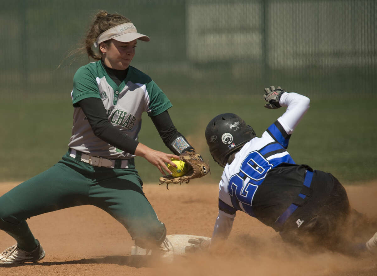 Western Texas' Priscilla Guzman safely steals second as Midland College's Danica Ferrisco is late with the tag Monday 03-28-16. Tim Fischer\Reporter-Telegram
