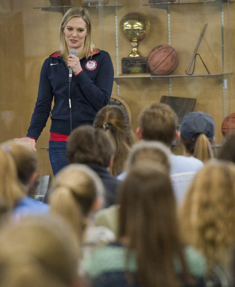 Olympic swimmer Chloe Sutton speaks to students Friday 03-31-16 at Midland Classical Academy about her adventures. Tim Fischer\Reporter-Telegram Photo: Tim Fischer