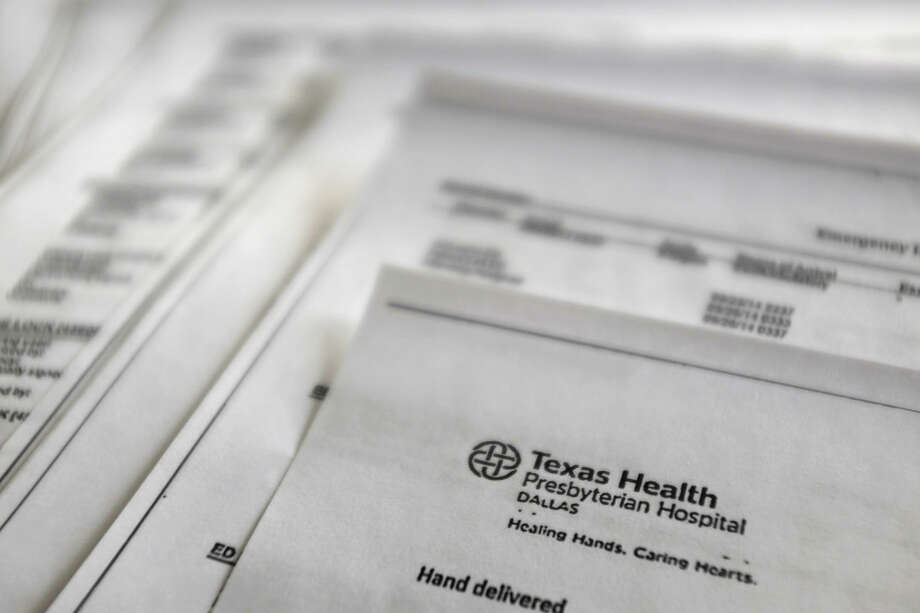 FILE - This Friday, Oct. 10, 2014, file photo, shows a copy of medical records from Texas Health Presbyterian Hospital. Photo: Kiichiro Sato