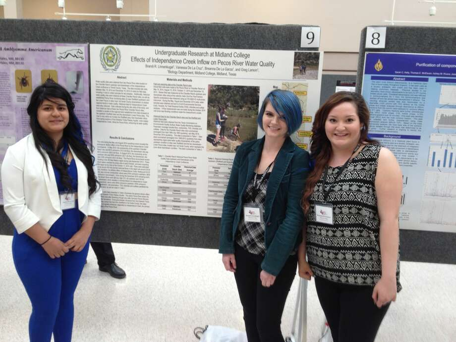 Midland College students Vanessa De La Cruz, from left, Brandi Linnenkugel and Breanna De La Garza attended the Texas Tech Annual Biological Sciences Symposium Friday and Saturday and presented their research on the quality of the Pecos River.