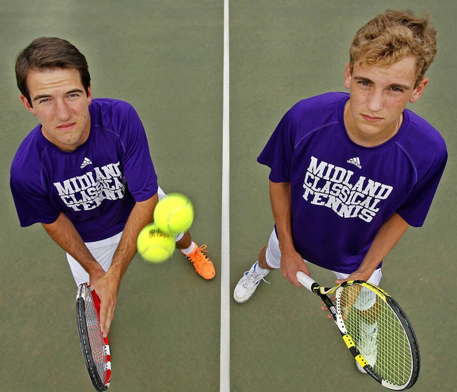 Midland Classical Academy boys doubles team of Max Sivalls (left) and Marshall McCray (right) is headed to the TAPPS state tennis tournament. Photographed in portrait Thursday, April 16, 2015 at the Midland College tennis courts. James Durbin/Reporter-Telegram Photo: James Durbin