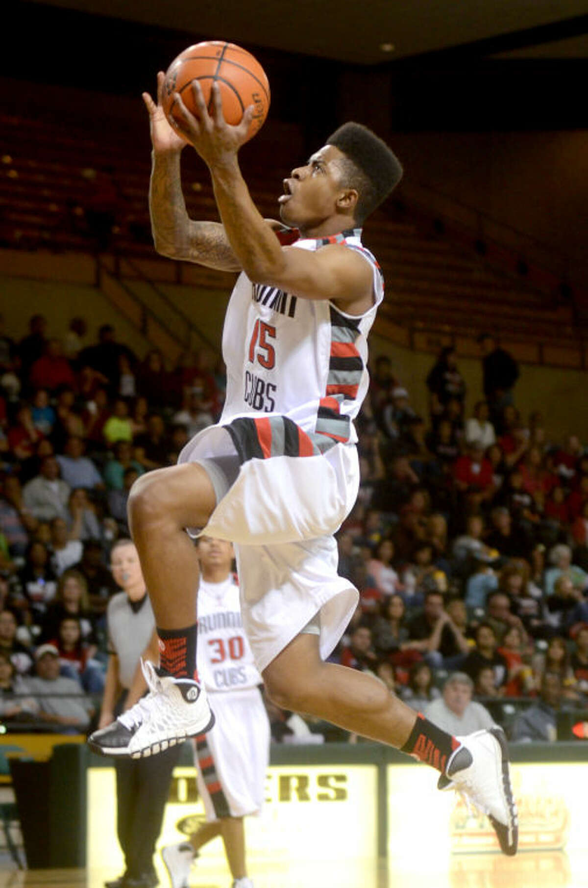 Brownfield's Sha' Colby Hill goes up to score against Breckenridge on Friday in the Region I-2A boys basketball regional semifinal on Friday at Chaparral Center. James Durbin/Reporter-Telegram