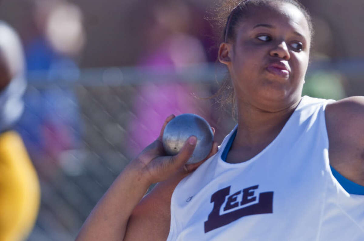 Lee's Temoxie Kelly competes in the shot put event during the Rogers Lincoln Ford Tall City Invitational on Friday at Memorial Stadium. James Durbin/Reporter-Telegram