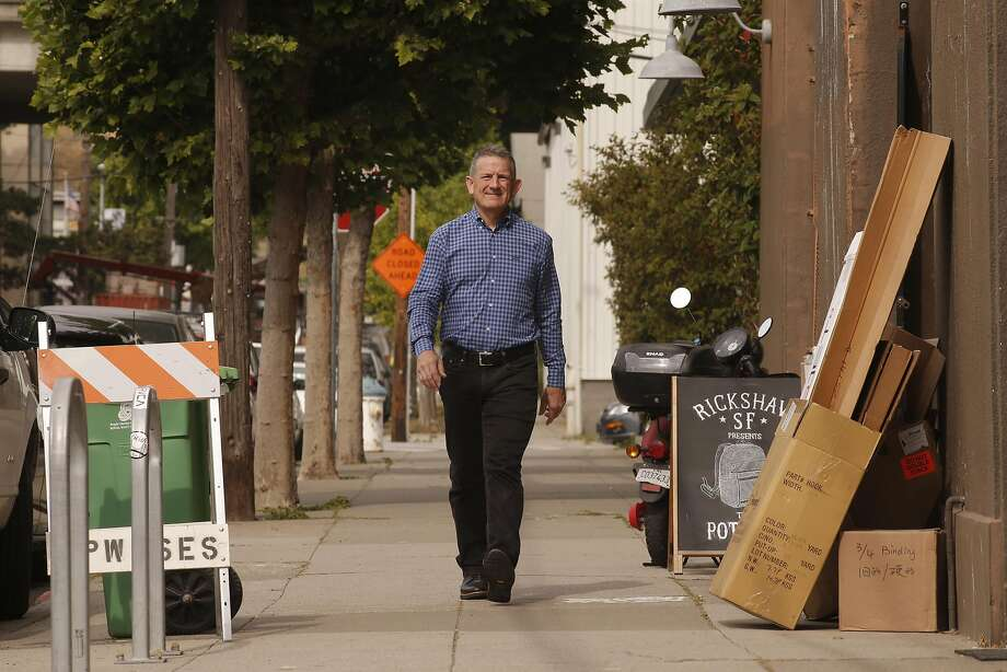 Mark Dwight, owner of Rickshaw Bagworks, says efficient public transportation is necessary to solve Dogpatch's congestion. Photo: Michael Macor, The Chronicle