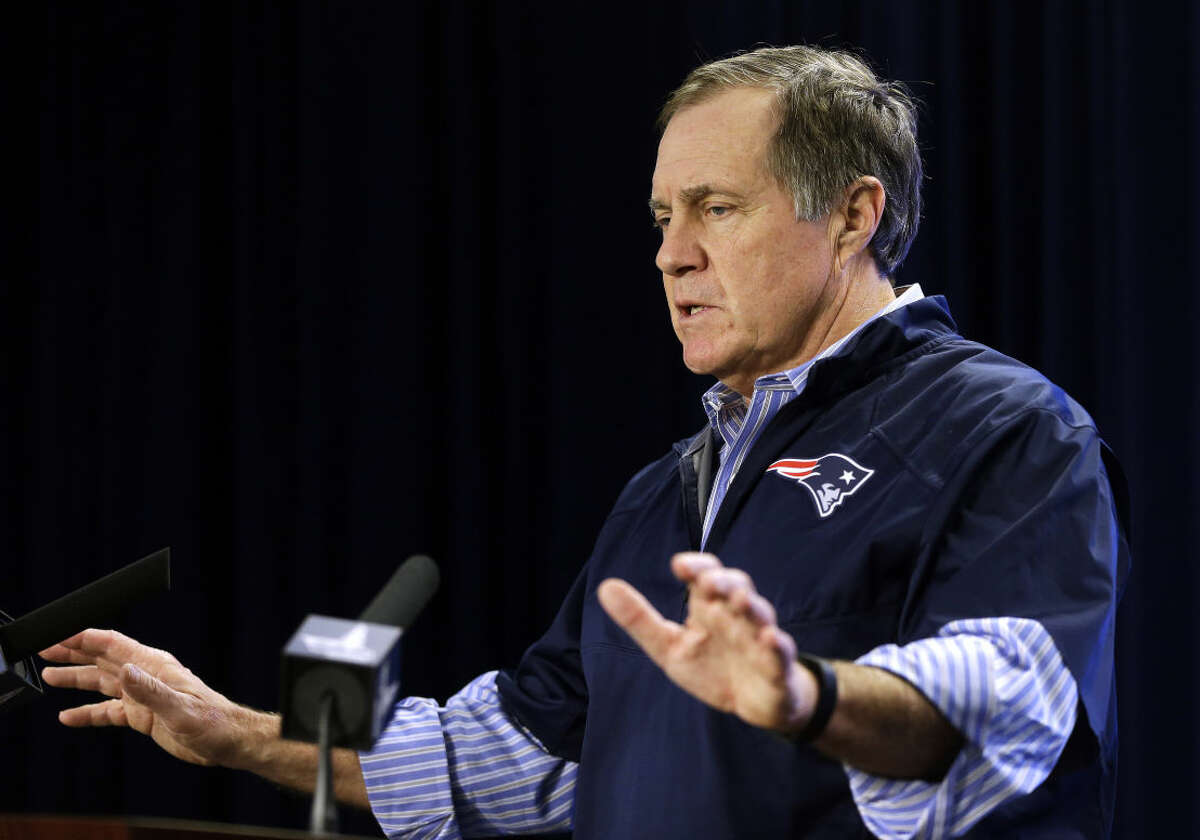 New England Patriots football head coach Bill Belichick speaks during an NFL football news conference at Gillette Stadium, Saturday, Jan. 24, 2015, in Foxborough, Mass., where he defended the way his team preps its game balls. (AP Photo/Steven Senne)