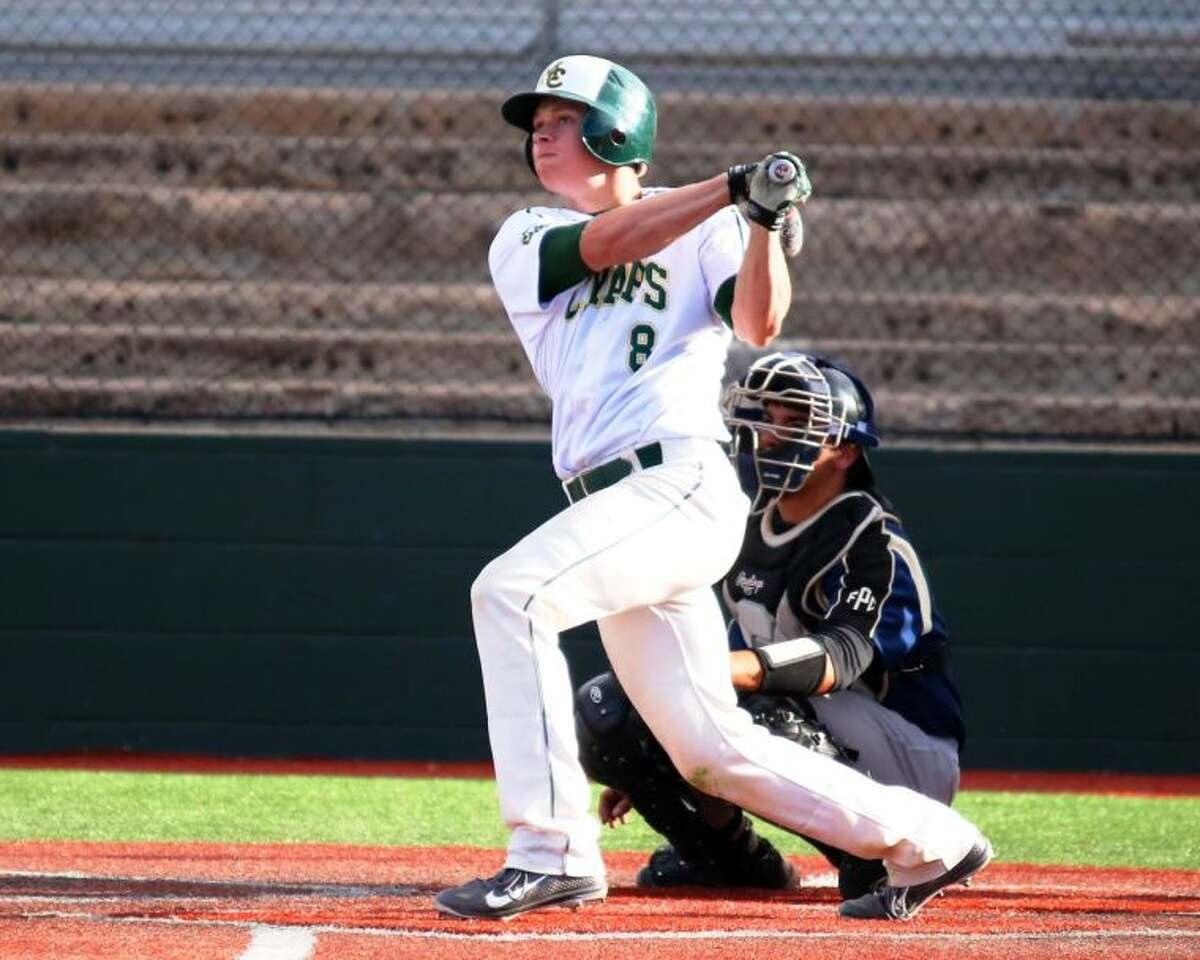 Midland College Caleb Koedyker follows through on his swing after a hitting a home run during the second game of the Chaps doubleheader with Frank Phillips March 1 at Christensen Stadium. Forrest Allen/MC Athletics