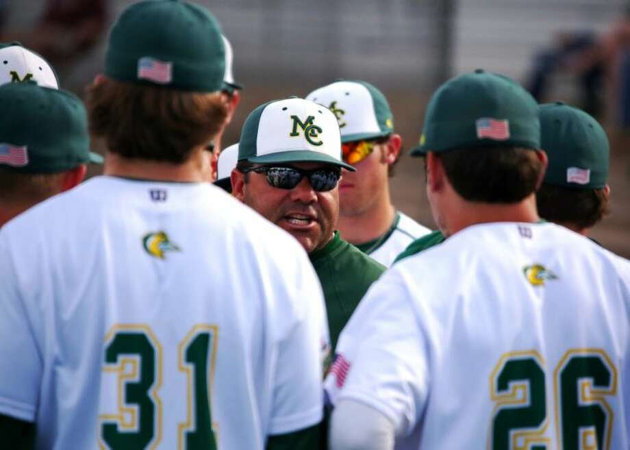 Midland College baseball coach David Coleman addresses his team during Saturday's doubleheader against Frank Phillips College at Christensen Stadium. Forrest Allen/MC Athletics