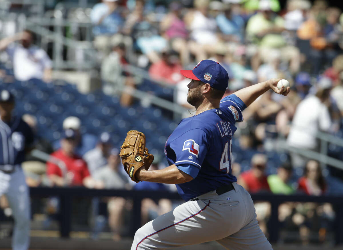 Texas Rangers' Colby Lewis throws during a inning of a spring training baseball game against the San Diego Padres, Tuesday, March 22, 2016, in Peoria, Ariz. (AP Photo/Darron Cummings)