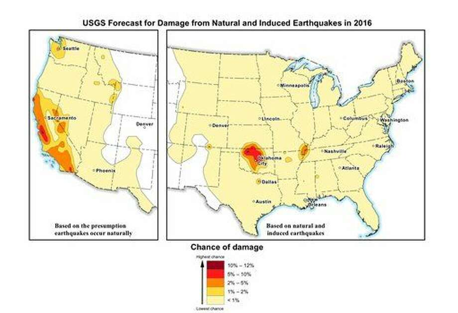 This image provided by the U.S. Geological Survey (USGS) shows the USGS forecast for damage from natural and induced earthquakes in the U.S. in 2016. Federal scientists say the chance of damaging earthquakes hitting east of the Rockies has increased significantly, much of it man-made as byproduct of drilling for energy. Oklahoma now has the nation's highest with a 1 in 8 chance of damaging ground shaking in 2016, passing California. (U.S. Geological Survey via AP) Photo: HOGP