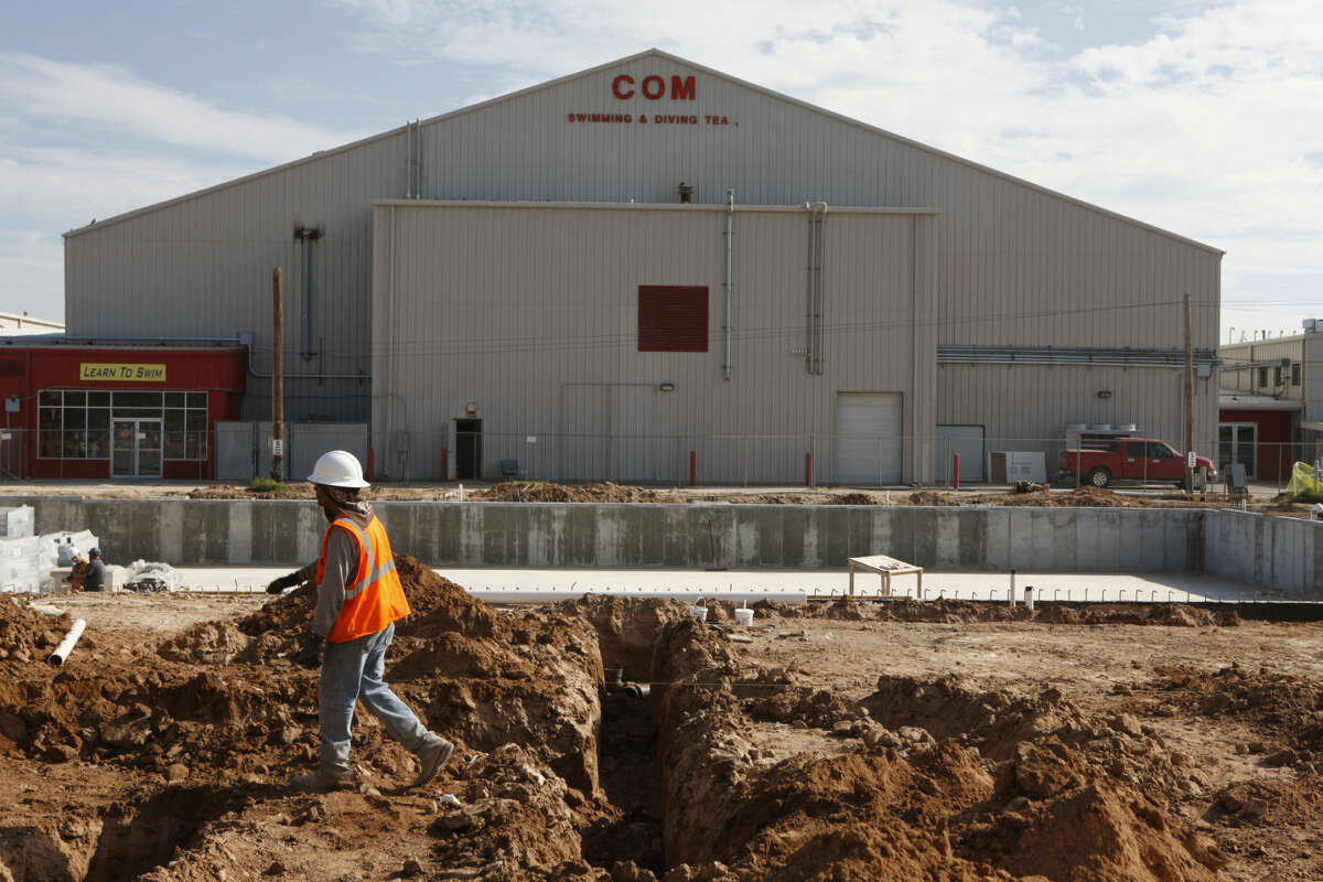 Ongoing construction for a new 50-meter pool at COM Aquatics, photographed October, 8, 2014. James Durbin/Reporter-Telegram