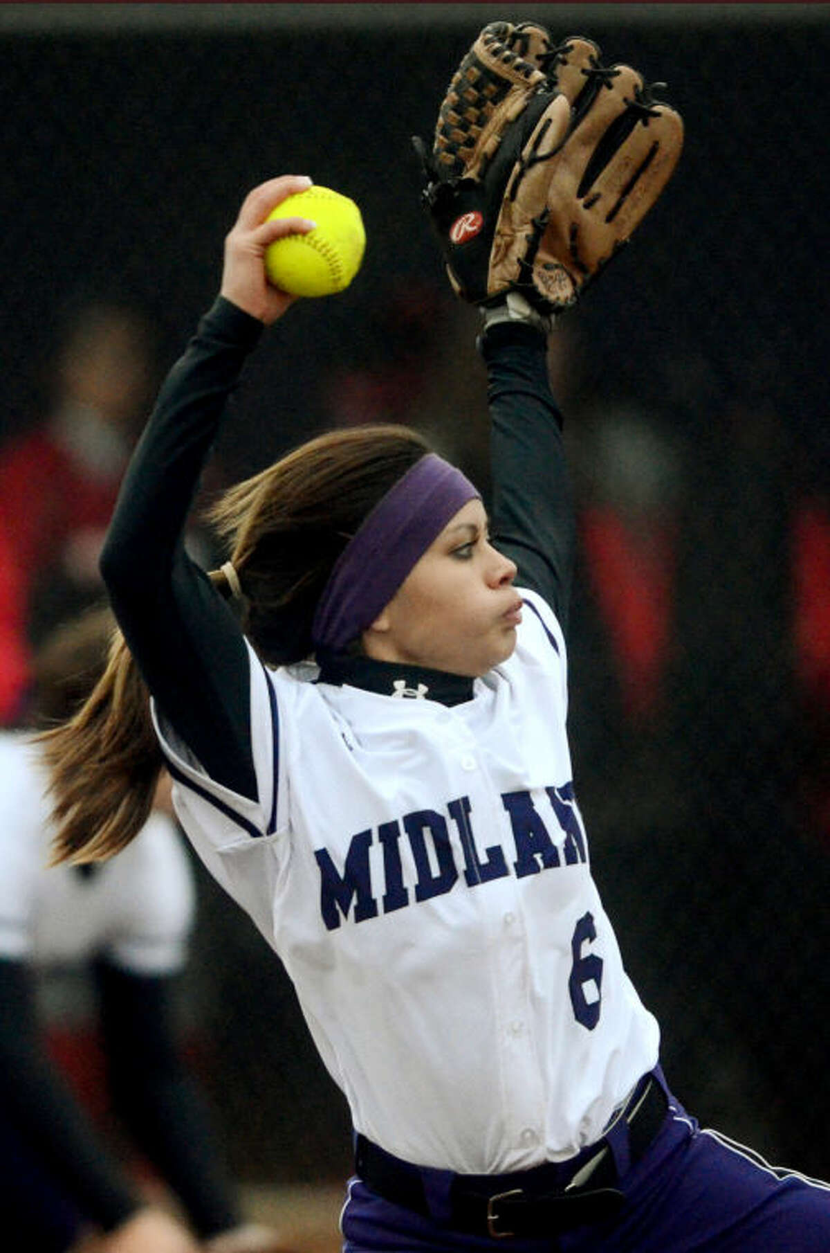 Midland High's Stefani Baeza (6) pitches against Odessa High on Tuesday at Audrey Gill Sports Complex. James Durbin/Reporter-Telegram