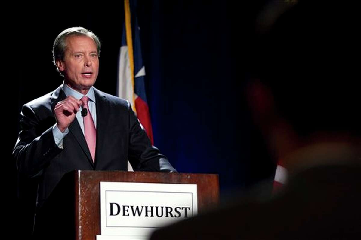 In this Jan. 12, 2012 file photo, Texas Lt. Governor David Dewhurst makes a point during a debate, in Austin, Texas. Like many Texas Republicans, Dewhurst has been waiting in line for higher office for a very long time. Now that Kay Bailey Hutchison is wrapping up her 19-year career in the U.S. Senate, Dewhurst may finally get his chance.