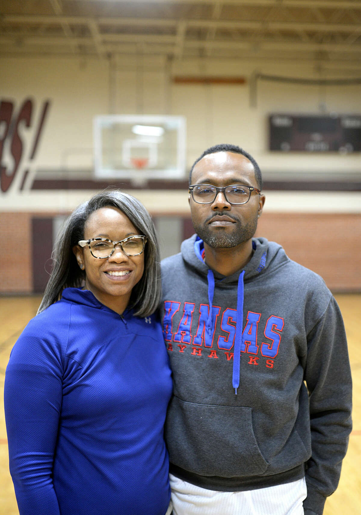 Jumon and Neshun Hailey coach Upward basketball, photographed Wednesday, Feb. 24, 2016, at the Lee High practice gym. James Durbin/Reporter-Telegram