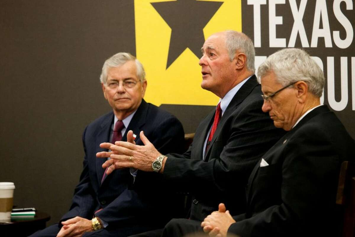 Kel Seliger, center, speaks as Tom Craddick and Tryon Lewis listenduring the round table discussion in this file photo. Photo courtesy of Rafael Aguilera/UTPB