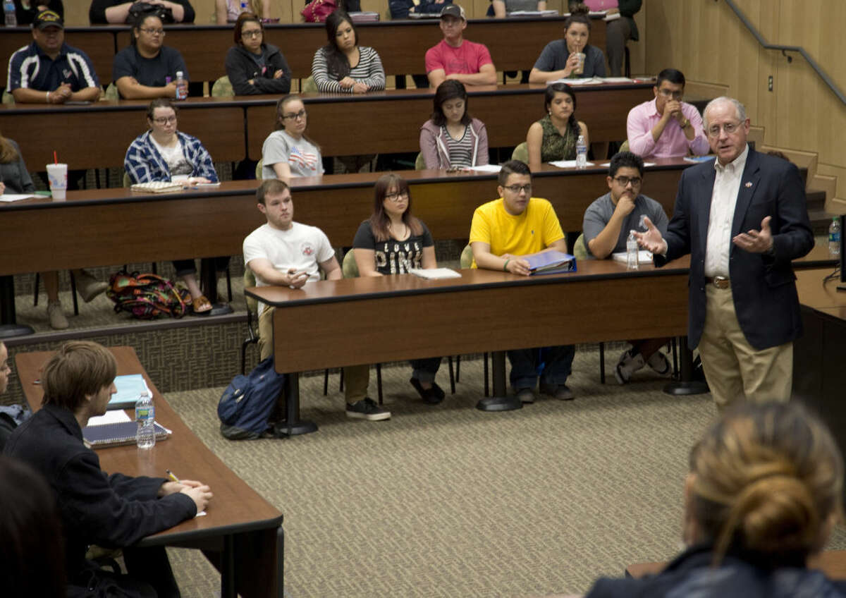Rep. Mike Conaway speaks Tuesday 04-05-16 with students at Midland College. Tim Fischer\Reporter-Telegram