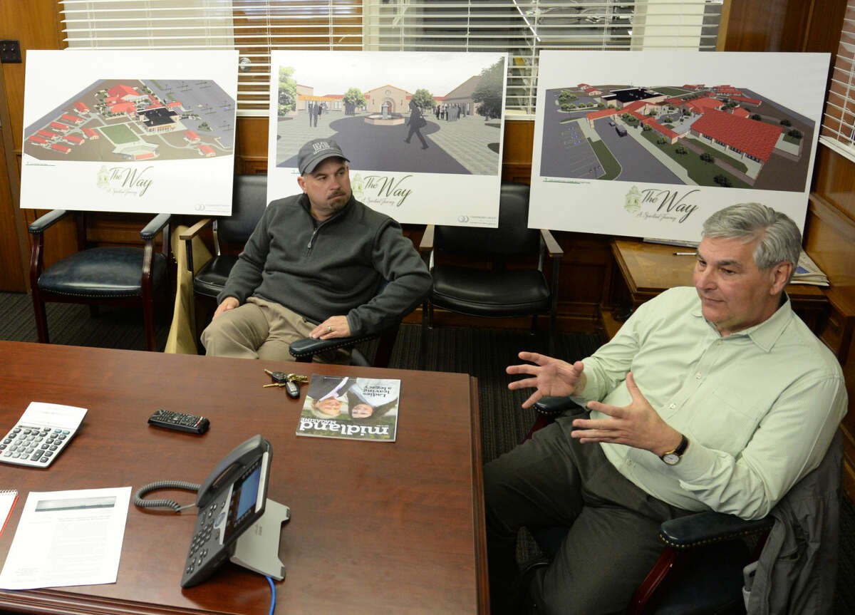 From left, Andy Iverson, vice president of the board, and Mike LaMonica, capital campaign manager, present renderings of The Way retreat center on Friday, Feb. 26, 2016, in the Reporter-Telegram conference room. James Durbin/Reporter-Telegram