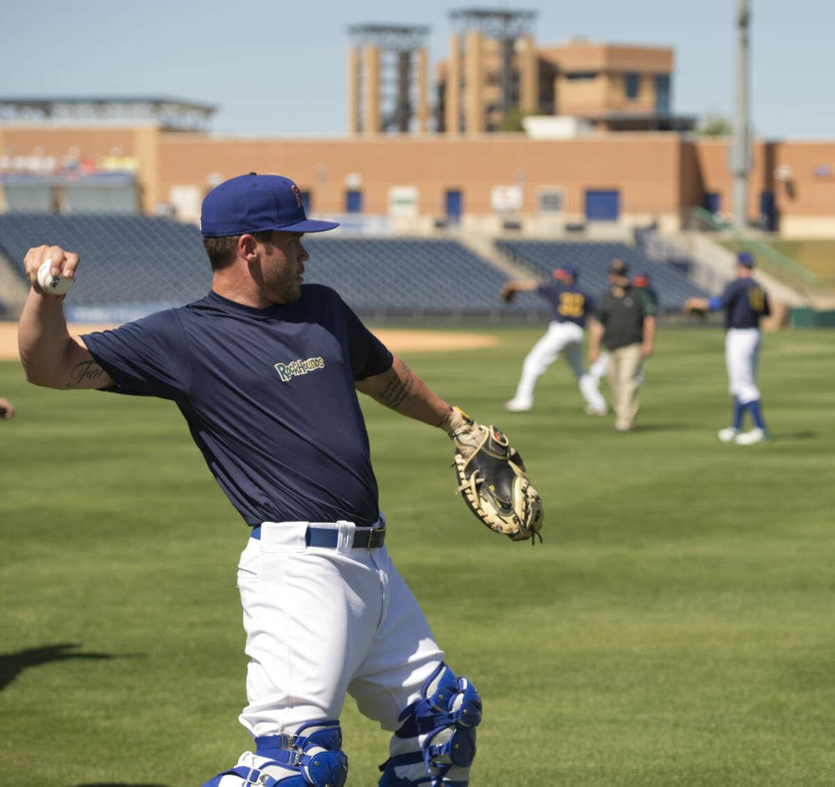 Midland RockHounds players get in a light workout Monday 04-04-16 at Security Bank Ballpark. Tim Fischer\Reporter-Telegram