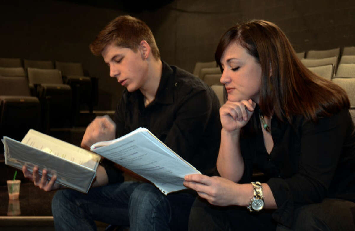 Brandon Sanchez and Jessica Sparkman run lines before rehearsal in MCT's production of The Complete Works of William Shakespeare. Tim Fischer\Reporter-Telegram
