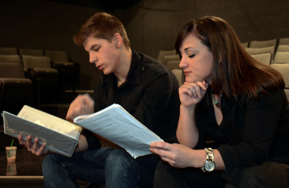 Brandon Sanchez and Jessica Sparkman run lines before rehearsal in MCT's production of The Complete Works of William Shakespeare. Tim Fischer\Reporter-Telegram Photo: Tim Fischer