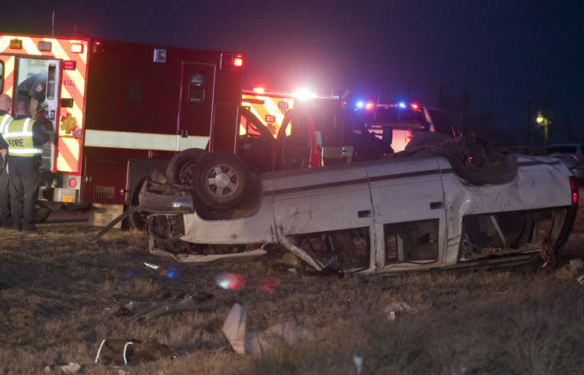 Midland fire department responds to a one car rollover following a high speed chase from Ector County and ending in Midland on Business 20 near 1788. Tim Fischer\Reporter-Telegram