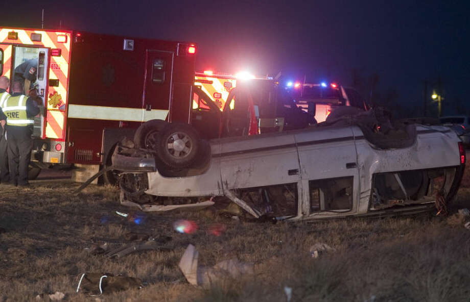 Midland fire department responds to a one car rollover following a high speed chase from Ector County and ending in Midland on Business 20 near 1788. Tim Fischer\Reporter-Telegram Photo: Tim Fischer