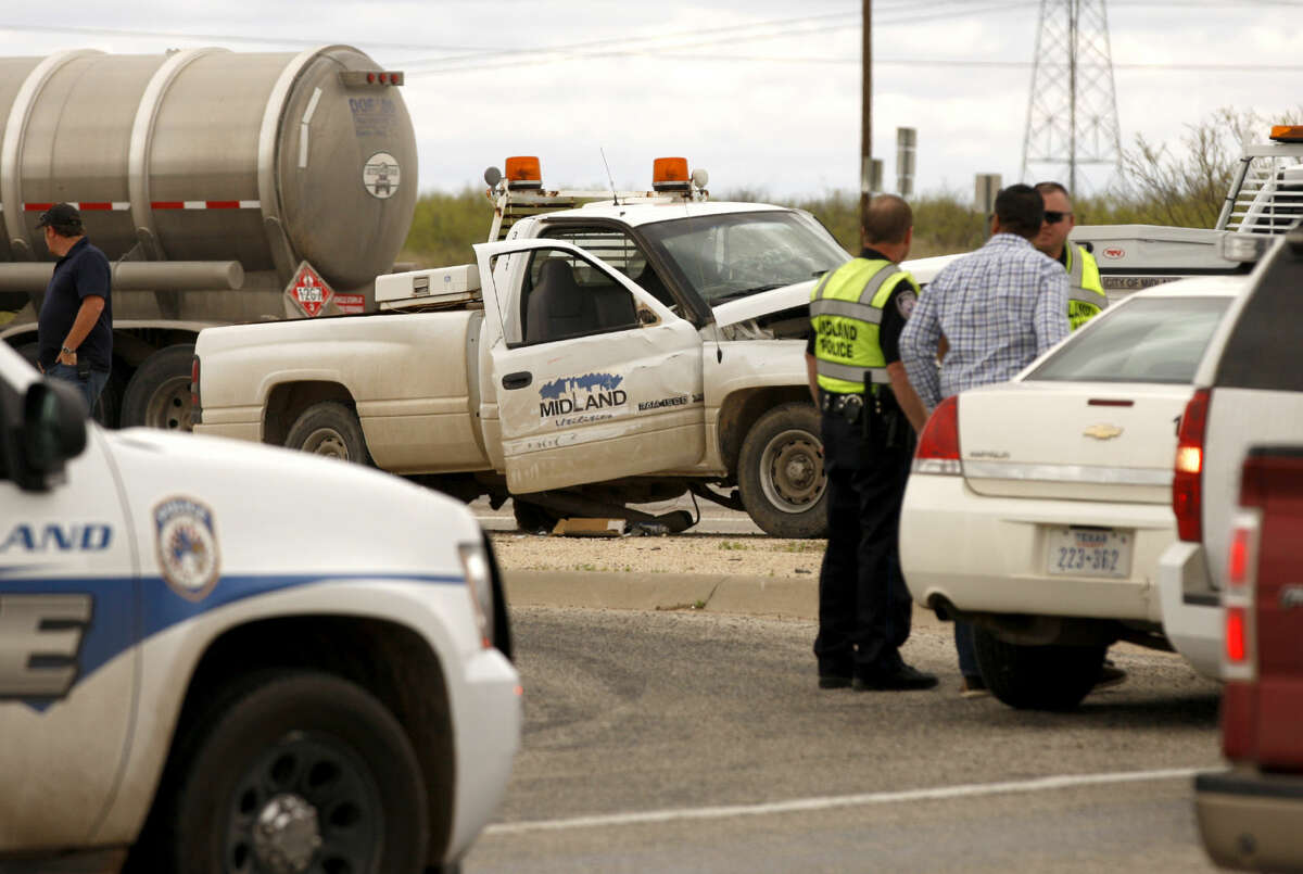 A City of Midland fleet pickup was involved in a two-vehicle wreck Tuesday, April 14, 2015, at the intersection of N. Fairgrounds and East Loop 250. James Durbin/Reporter-Telegram