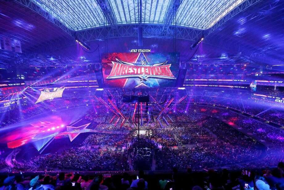 IMAGE DISTRIBUTED FOR WWE - A record crowd of 101,763 fans from all 50 states and 35 countries atWrestleMania32 at AT&T Stadium on Sunday, April 3, 2016, in Arlington, Texas. (Brandon Wade/AP Images for WWE)