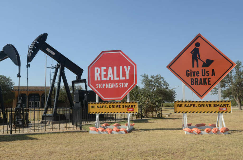 The Texas Department of Transportation displayed traffic safety signs in front of the Petroleum Museum on Saturday. James Durbin/Reporter-Telegram Photo: James Durbin