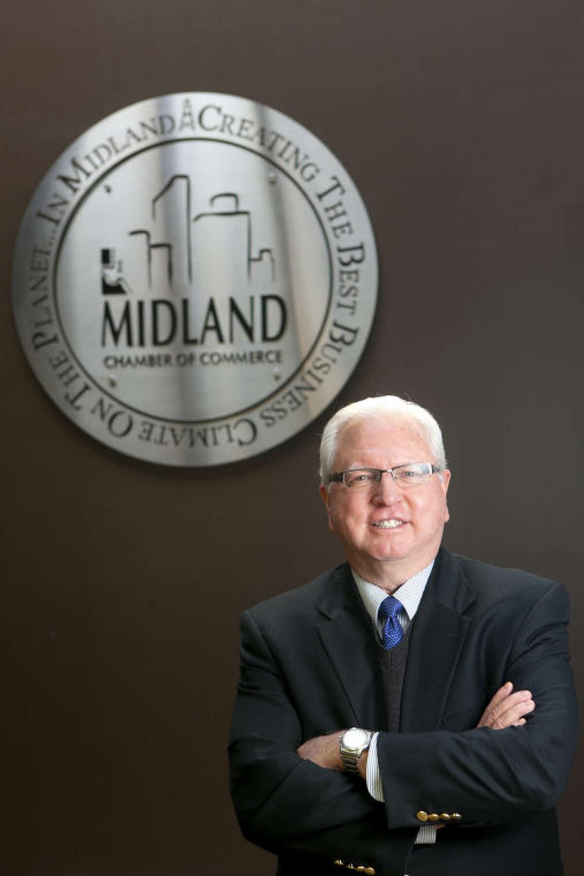 Bobby Burns, president of the Midland Chamber of Commerce, in portrait Feb. 12, 2014 at the Chamber offices. James Durbin/Reporter-Telegram