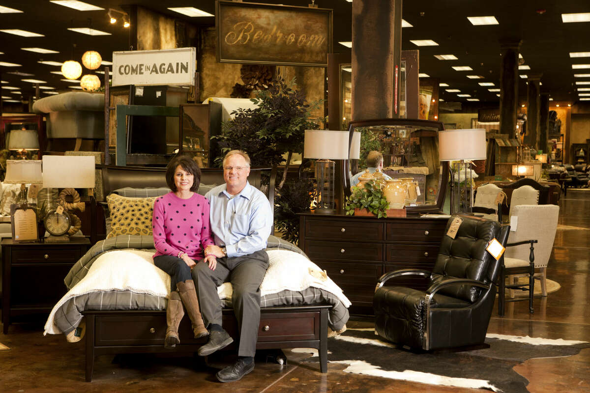 Carter's Furniture owners Tim and Laura Carter in portrait at their store Wednesday, Jan. 28, 2015. James Durbin/Reporter-Telegram