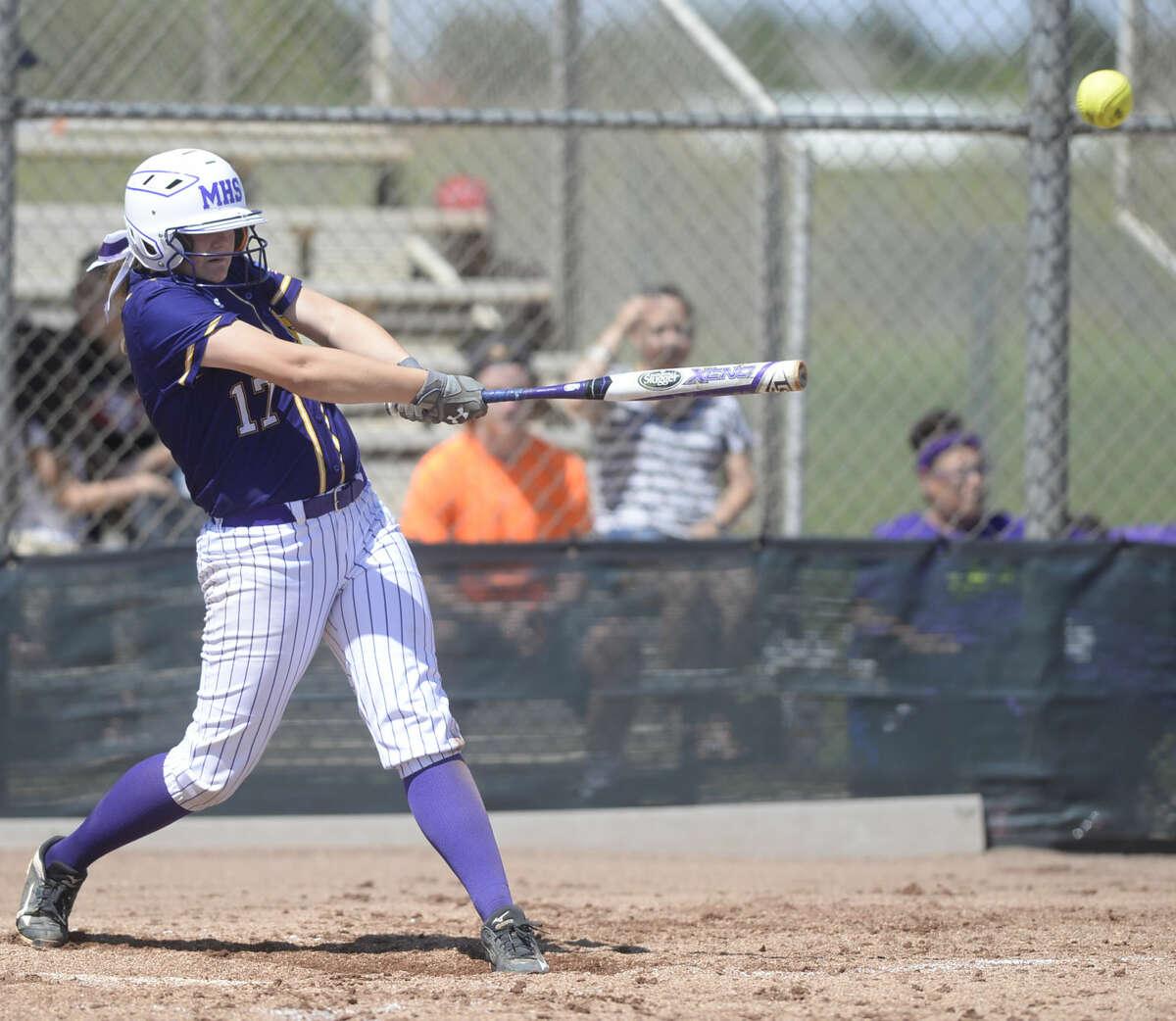 Midland High's Racey Haile (17) bats against San Angelo Central on Saturday, April 9, 2016, at Audrey Gill Softball Complex. James Durbin/Reporter-Telegram