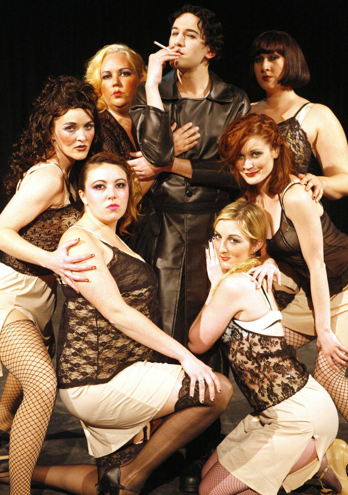 Kyle Sheldon as the Emcee with the Kit Kat Girls in MRRRP Productions' 'Cabaret.'