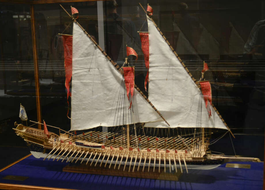 A new Maritime exhibit at the Centennial Branch of the Midland County Library displays handcrafted replica ships dating back to the 1600s. Tim Fischer\Reporter-Telegram Photo: Tim Fischer