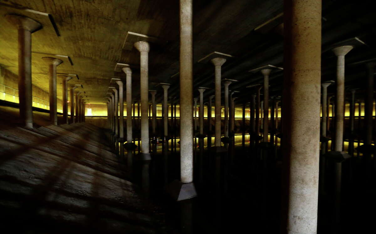 The inside of the Buffalo Bayou Park Cistern is shown Monday, April 25, 2016, in Houston. Built in1927, it was the City of Houston?•s first underground drinking-water reservoir- a concrete holding tank roughly the size of one and half football fields on Sabine Street, near Buffalo Bayou.