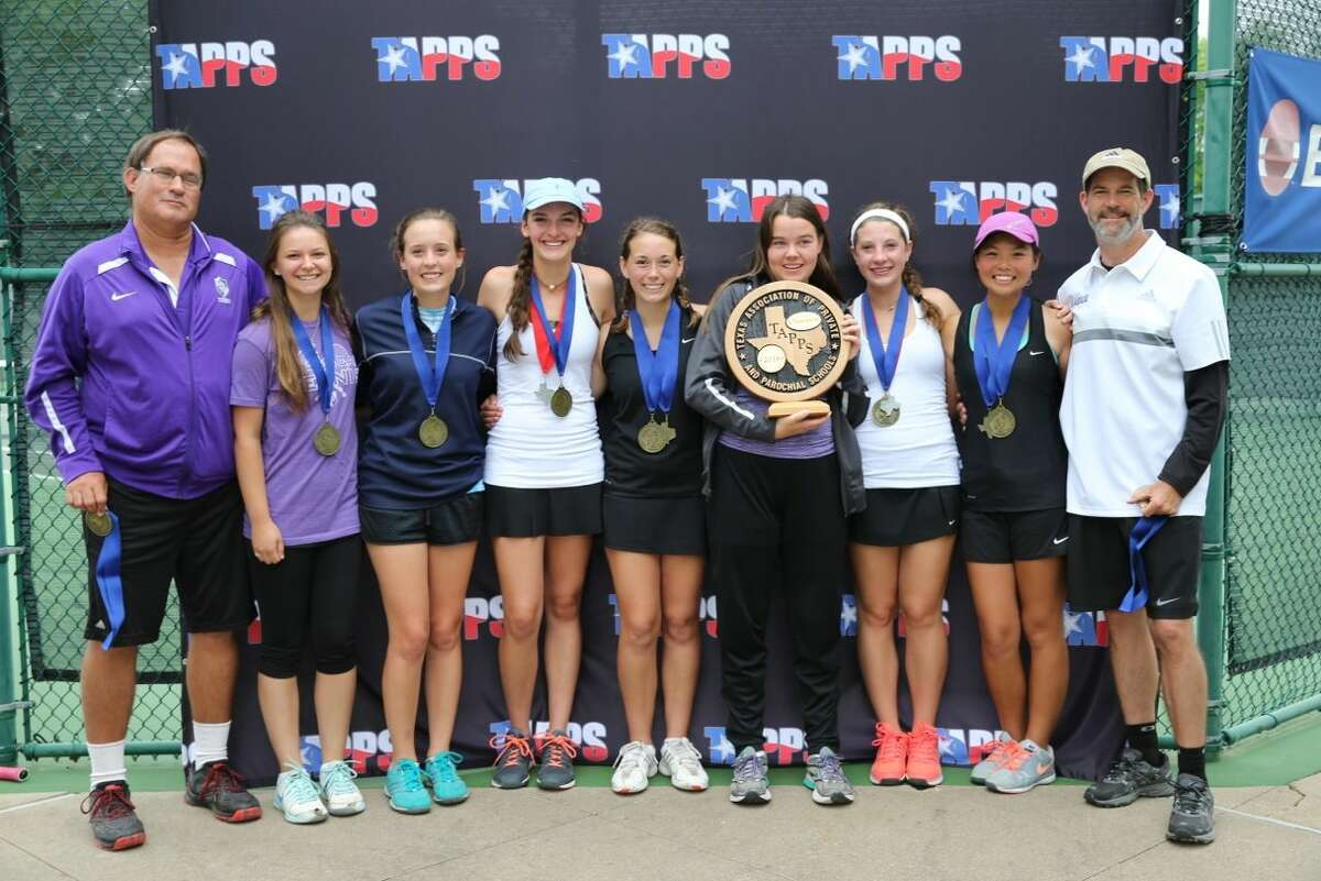 The Midland Classical Academy girls tennis team poses with its TAPPS 3A state championship trophy on Wednesday afternoon at the Waco Regional Tennis Center.