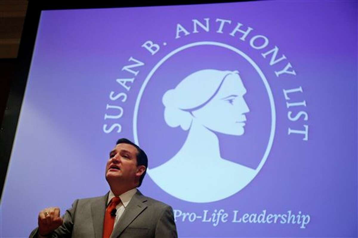 """Sen. Ted Cruz, R-Texas speaks at the Susan B. Anthony List """"Campaign for Life Gala and Summit"""", a gathering of anti-abortion advocates, in Washington, Wednesday, March 12, 2014. Looking to aid political candidates who share their views, anti-abortion activists are auditioning potential 2016 presidential contenders. Like many evangelicals, the Susan B. Anthony List is in search of an anti-abortion crusader who has a shot at winning the Republican nomination in 2016 after back-to-back presidential nominees that left the socially conservative wing of the GOP ambivalent at best. (AP Photo/Charles Dharapak)"""