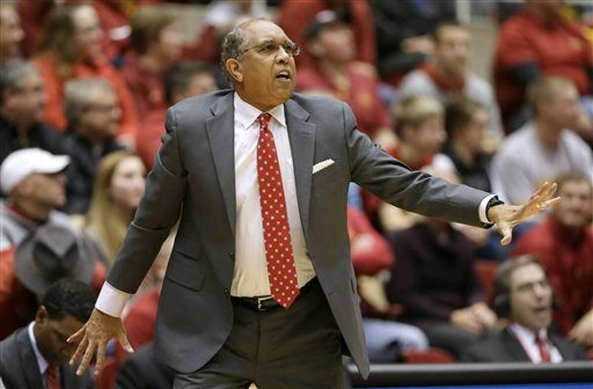 FILE - In this Jan. 6, 2016 file photo, Texas Tech coach Tubby Smith talks to his team during the first half of an NCAA college basketball game against Iowa State, in Ames, Iowa. Memphis has hired Tubby Smith as its new men's basketball coach, choosing to go with a veteran to get the Tigers back to the NCAA Tournament. The university announced the hire Thursday, April 14, 2016, on its athletic department's website. (AP Photo/Charlie Neibergall)