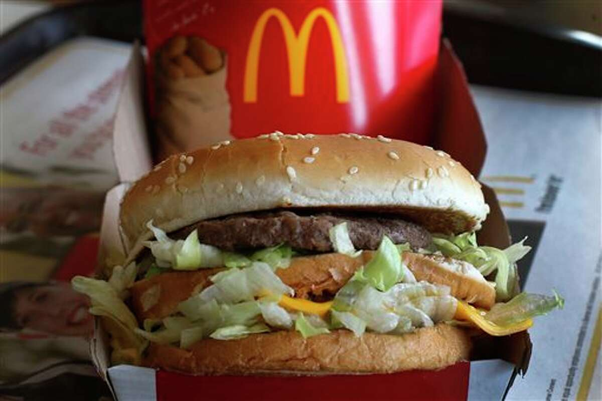 In this Tuesday, Jan. 21, 2014, photo, a McDonald's Big Mac sandwich is photogr at a McDonald's restaurant in Robinson Township, Pa., Tuesday, Jan. 21, 2014.
