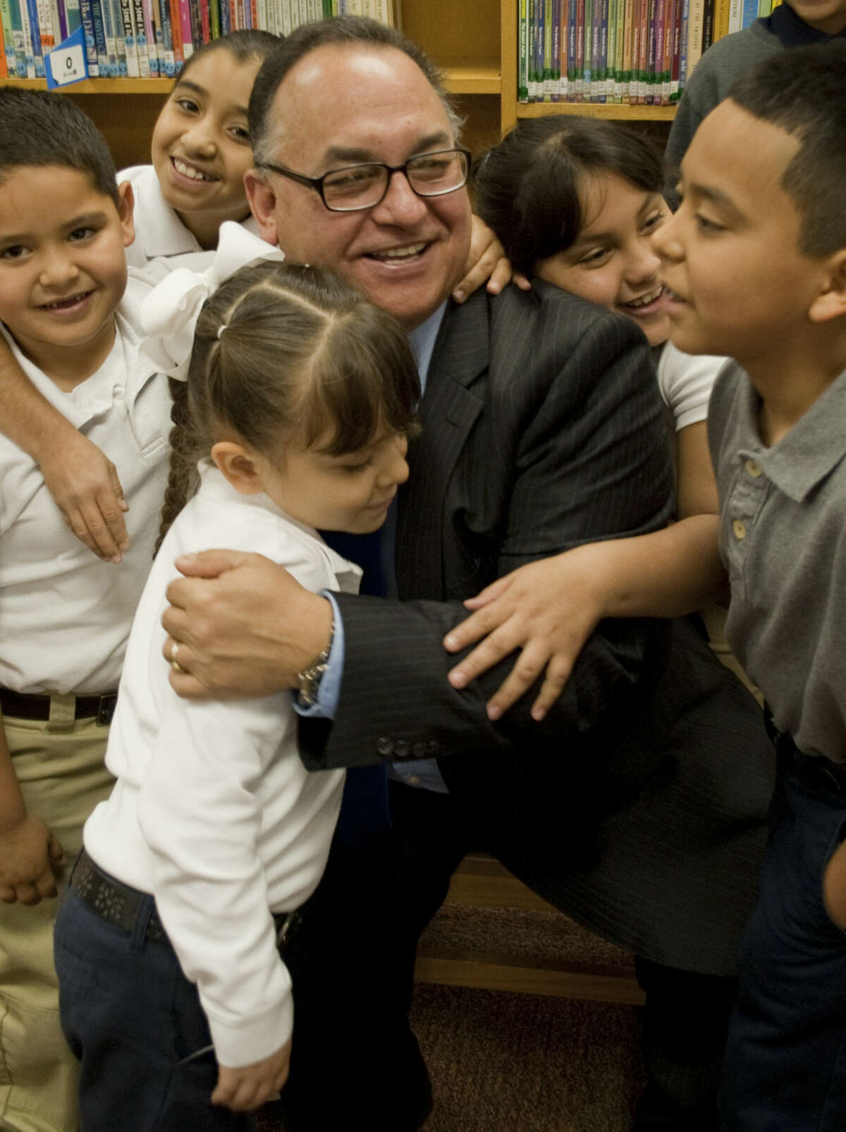 South Elementary Principal JR Silva with some of the children at South Elementary. Tim Fischer\Reporter-Telegram