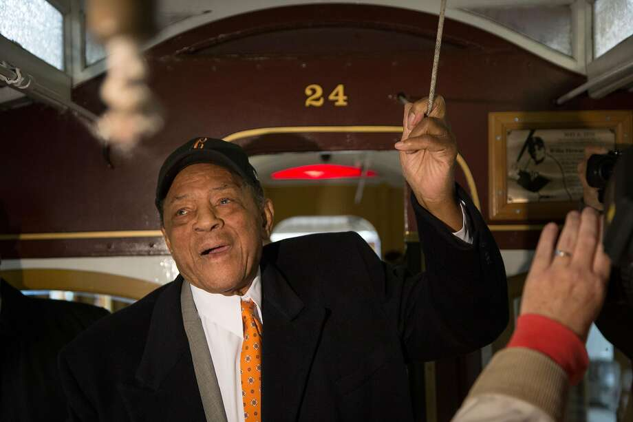 Willie Mays rings the bell from cable car No. 24 on Friday, May 6, 2016 in San Francisco, Calif. Mays, a San Francisco Giants legend and Baseball Hall of Famer, turned 85 today. Cable car No. 24, the same number he wore when he played for the S.F. Giants, was dedicated and named after Mays. Photo: Santiago Mejia, Special To The Chronicle