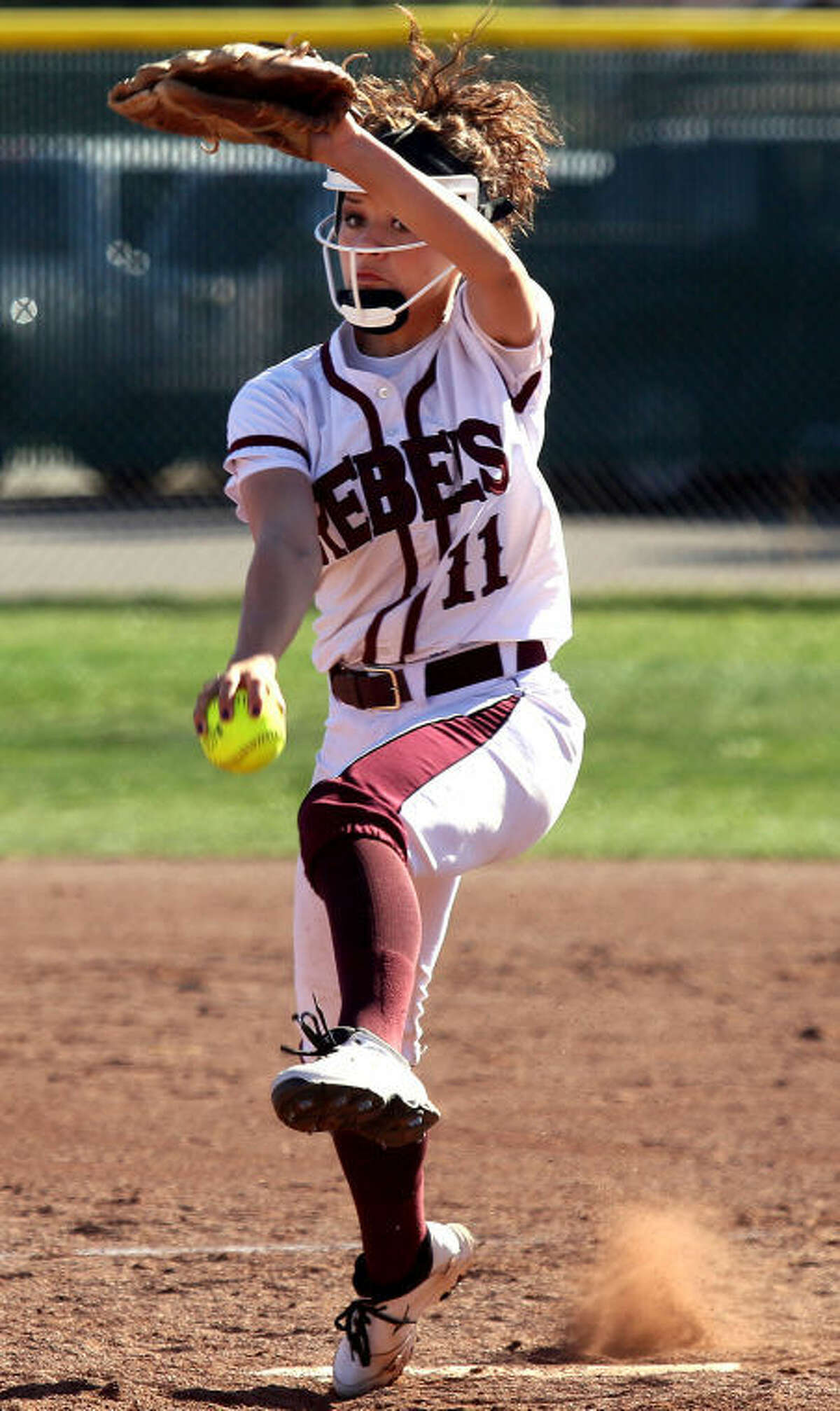Lee pitcher Kylee Olivas winds up to pitch the ball during the 4-1 win over Permian Thursday at Gene Smith Field.