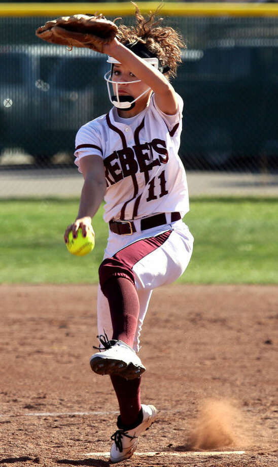 Lee pitcher Kylee Olivas winds up to pitch the ball during the 4-1 win over Permian Thursday at Gene Smith Field. Photo: Edyta Blaszczyk | Odessa American