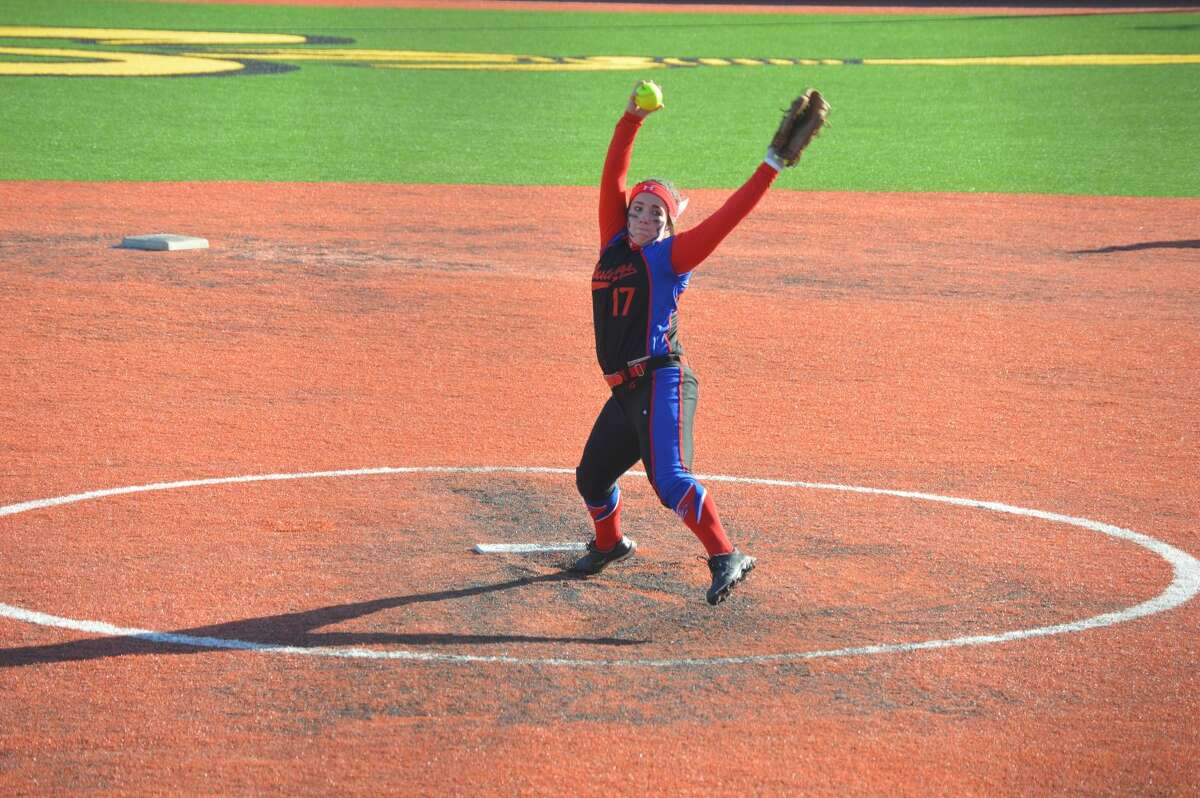 Midland Christian pitcher Danika Gordon delivers a pitch against Seminole in the Seminole Tournament earlier this season. Courtesy photo.