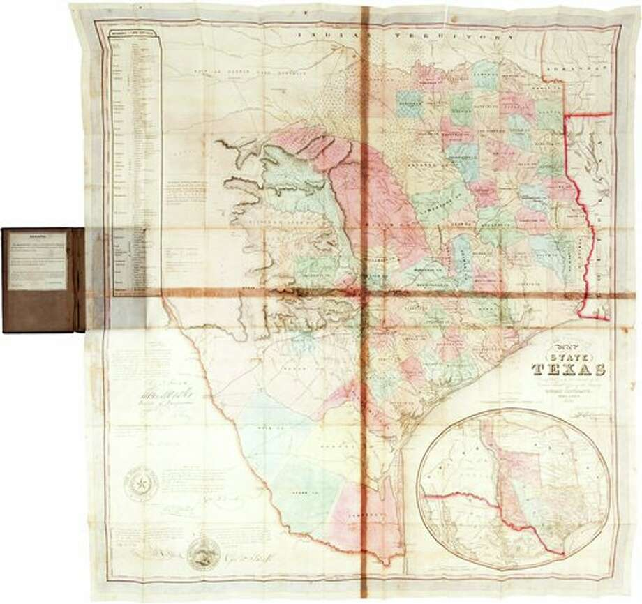 In this undated photo provided by Heritage Auctions shows a 1849 first edition map of Texas, considered the first official map it became a state in 1845. The rare 165-year-old document that's been in the same family for generations has sold for $149,000. (AP Photo/Heritage Auctions) Photo: HOEP / Heritage Auctions