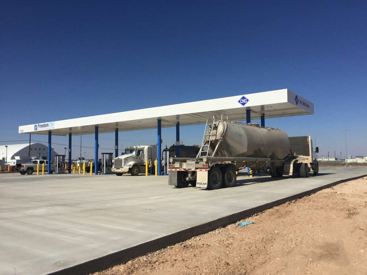 Midland's newest compressed natural gas fueling station, operated by Freedom CNG, is capable of sending CNG-powered truckers west to El Paso or east to Dallas.