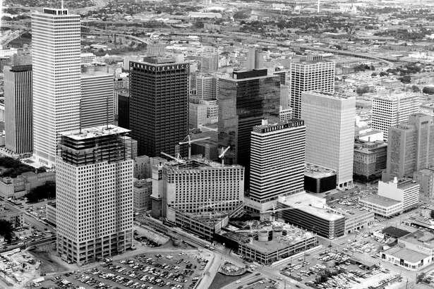 In 1971, new buildings included Allen Center, lower left, One Shell, upper left, and the Hyatt Regency Hotel (under construction), center.